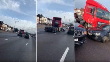 Vrachtwagen duwt Golf GTI