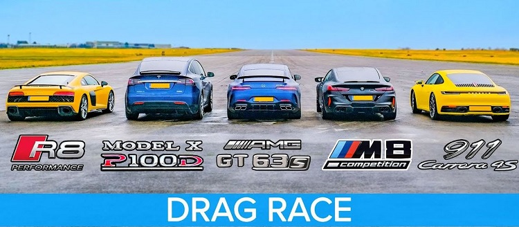 BMW M8 vs Audi R8 V10 vs AMG GT 63 S vs 992 4S vs Model X