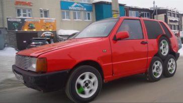Fiat Panda met 8 wielen