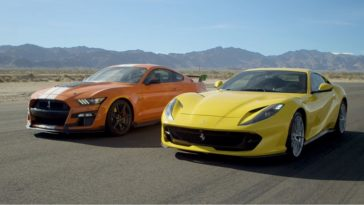 Ford Mustang Shelby GT500 vs 812 Superfast en 911 GT3 RS