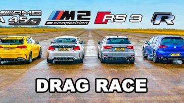 Mercedes-AMG A45S vs BMW M2 Comp vs Audi RS3 vs VW Golf R