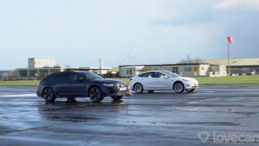 Nieuwe Audi RS6 racet tegen Tesla Model 3 Performance