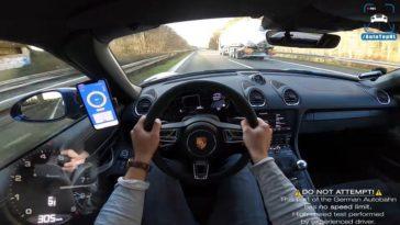 Porsche 718 Spyder knalt naar topsnelheid op de Autobahn