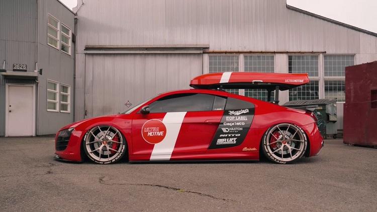 Audi R8 V10 met Skibox