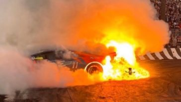 Lamborghini Huracan vat vlam na burnout