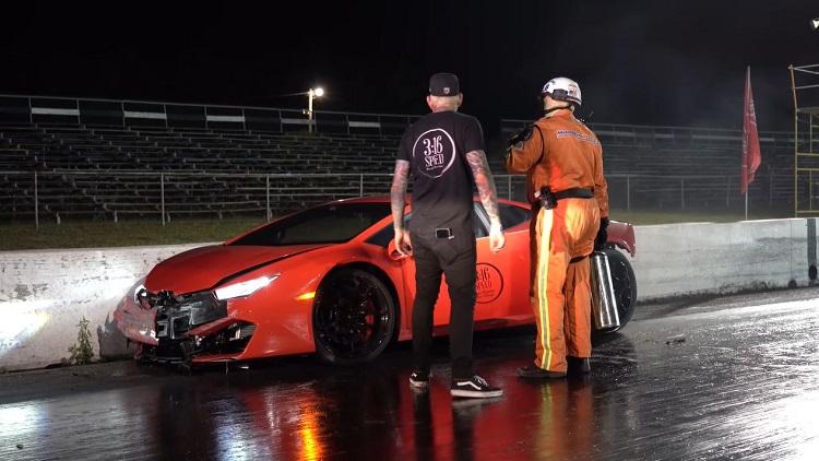 Man crasht met Twin Turbo Lamborghini Huracán