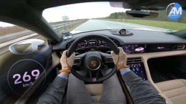 Porsche Taycan Turbo S naar topsnelheid