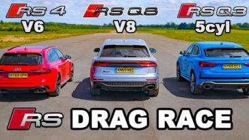 Audi RS4 vs RS Q3 vs RS Q8 in een dragrace