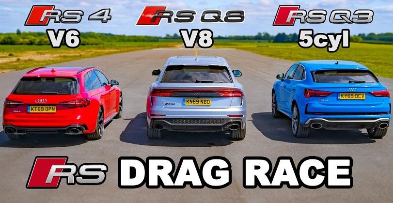 Audi RS4 vs RS Q3 vs RS Q8 in een dragrace