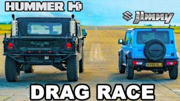 Hummer H1 en Suzuki Jimny houden een dragrace