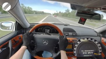 Mercedes-Benz CL 600 BRABUS naar topsnelheid op de Autobahn