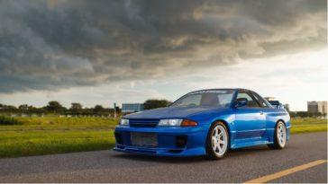550 pk Nissan R32 GT-R in Bayside Blue