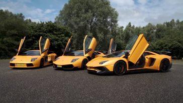 Drie oranje Lamborghini's op Nederlandse platen