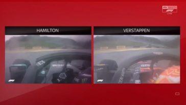 Het verschil tussen Hamilton en Verstappen in verregende kwalificatie