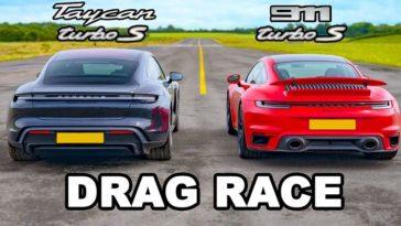 Kan de Porsche 911 Turbo S de Taycan Turbo S aan.