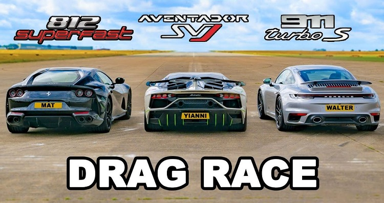 Lamborghini Aventador SVJ vs Ferrari 812 vs Porsche 911 Turbo S