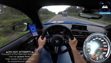 BMW M2 CS naar topsnelheid op de Autobahn