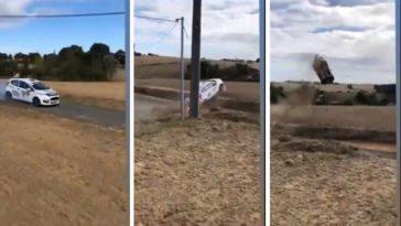 Ford Fiesta mist een bocht in Rallye Coeur de France
