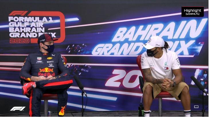Max en Lewis interview GP Bahrein
