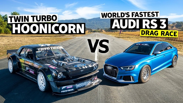 1.000 pk Audi RS3 vs 1.400 pk Ford Mustang Hoonicorn