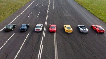 7 generaties Porsche 911 Turbo in dragrace