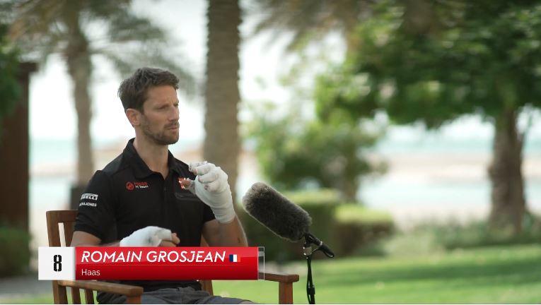 Romain Grosjean praat met Sky Sports over zijn ongeluk