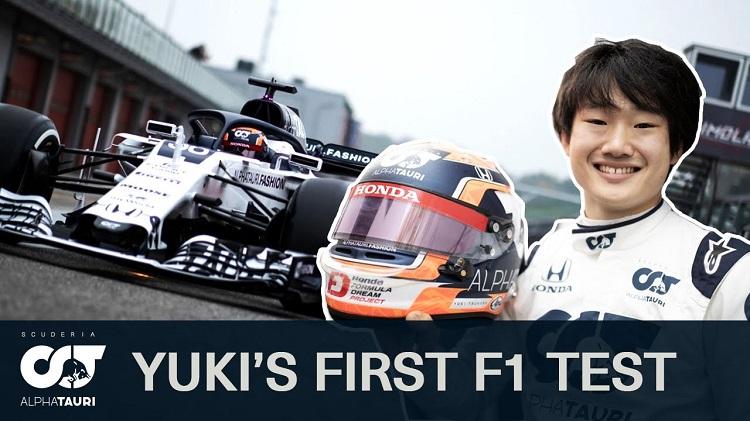 Yuki Tsunoda' eerste F1-test met AlphaTauri