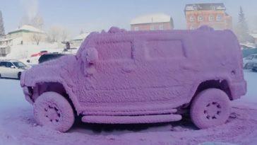 Hummer wassen in de winter