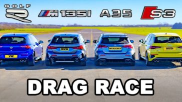 Nieuwe VW Golf R vs BMW M135i vs Audi S3 vs AMG A35