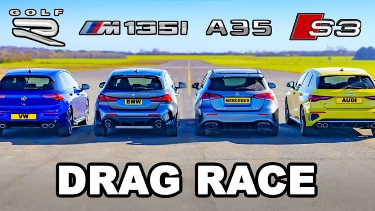Nieuwe VW Golf R vs BMW M135i vs Audi S3 vs AMG A35