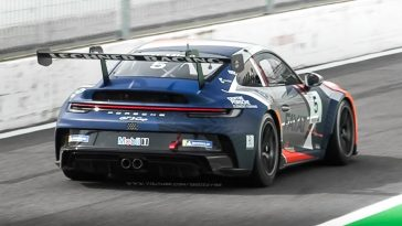Porsche 992 GT3 Supercup-auto's blazen over Monza