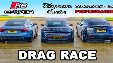 Porsche Taycan Turbo en Audi RS E-Tron GT vs Tesla Model S Performance