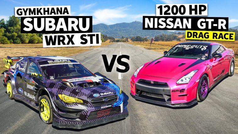 1.200 pk Nissan GT-R vs Subaru STI Gymkhana