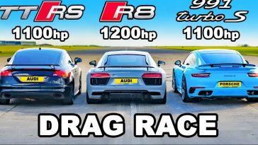 Audi TT RS vs R8 vs 911 Turbo S