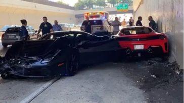 Drie Ferrari betrokken bij crash tijdens supercar run