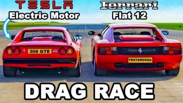 Elektrische Ferrari 308 GTS vs Ferrari Testarossa