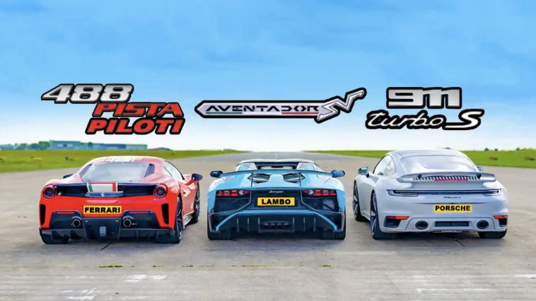 DRAG RACE: Ferrari 488 Pista v Aventador SV v 911 Turbo S
