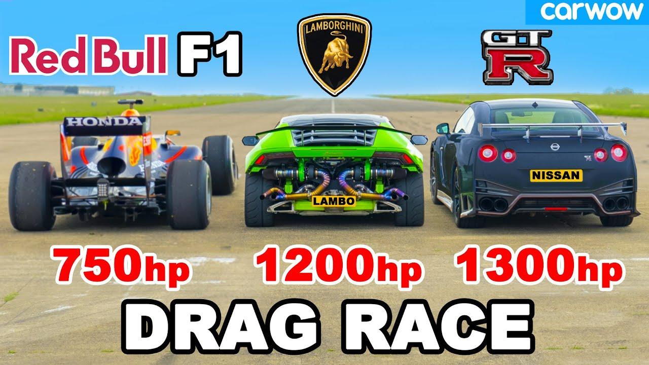 Red Bull RB7 vs Twin Turbo Huracan vs Nismo GTR