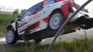 Cameraman op haar na gemist door crashende Toyota Yaris WRC