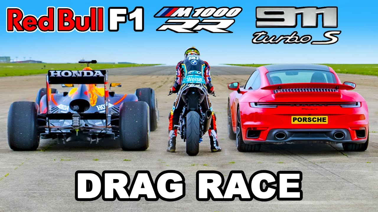 Red Bull RB7 vs BMW M1000 RR vs 911 Turbo S