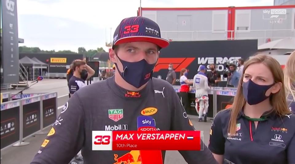 Verstappen reageert bij Sky Sports op Grand Prix Hongarije