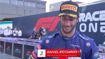 Emotionele Ricciardo bij Sky Sports na zege GP Italië