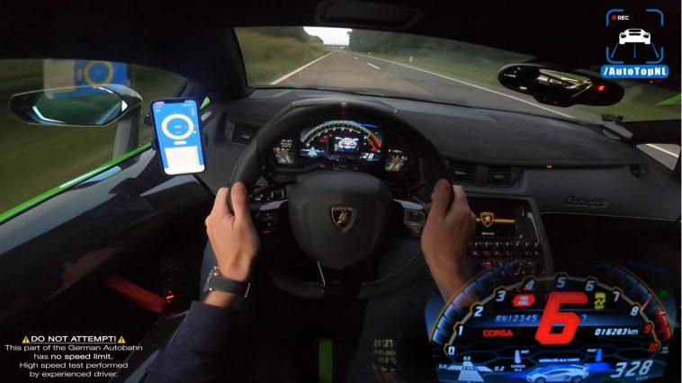 Lamborghini Aventador SVJ naar 344 kmh op Autobahn