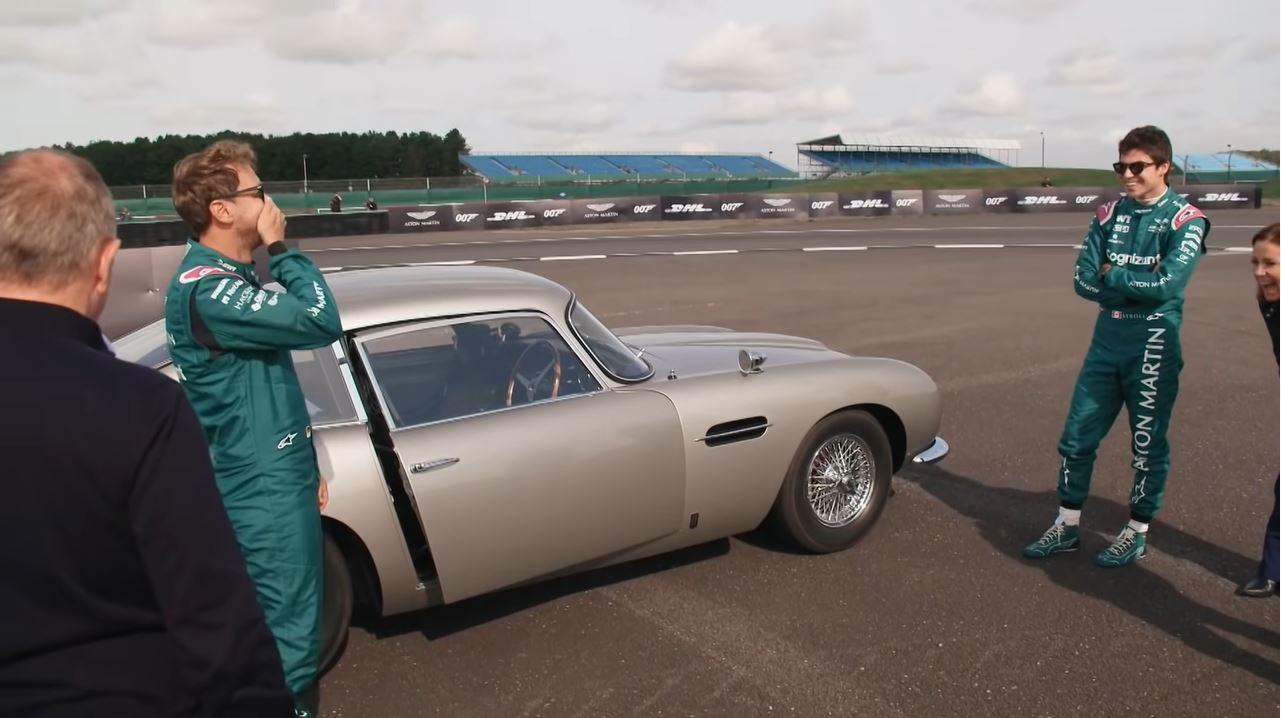 Vettel en Stroll doen stunts met een Aston Martin DB5